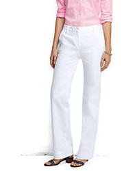 Lands' End Plus Size Pre Hemmed Mid Rise Chino Trouser Pants Khaki