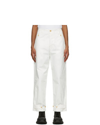 Alexander McQueen White Cotton Trousers