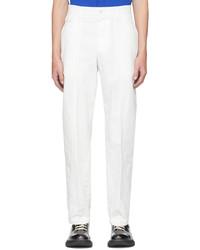 Alexander McQueen White Gabardine Paneled Cropped Trousers