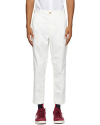 Beams Plus White One Pleat Chino Trousers