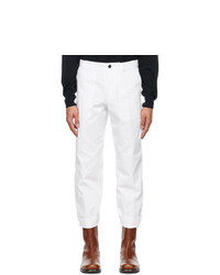 Dries Van Noten White Twill Trousers