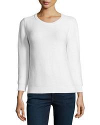 Neiman Marcus Crewneck Chunky Needlepoint Sweater
