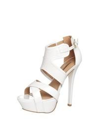 Buffalo high heeled sandals white medium 230220