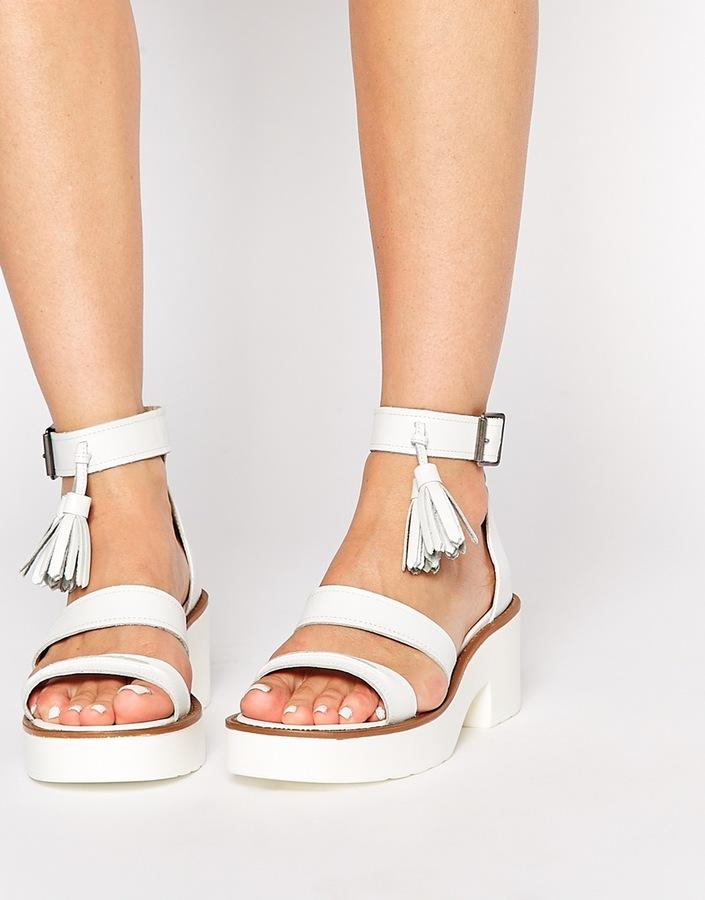Windsor Smith Chunk White Leather Tel Heeled Sandals