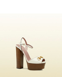 Gucci Leather Platform Horsebit Sandal
