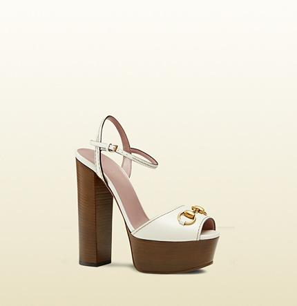 3ecc891636 Gucci Leather Platform Horsebit Sandal, $775 | Gucci | Lookastic.com