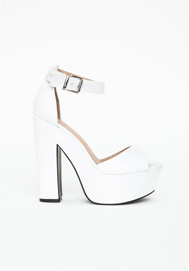 Missguided Alana Platform Block Heels In White | Where to buy