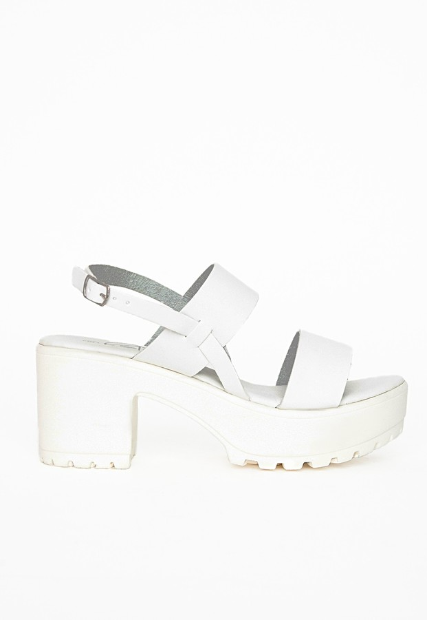 6cd9e470f663a1 ... White Chunky Leather Heeled Sandals Missguided Chunky Cleated Strappy  Sandals ...