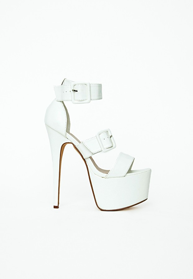 Missguided Courtney Strappy Buckle Extreme Platform Heels White
