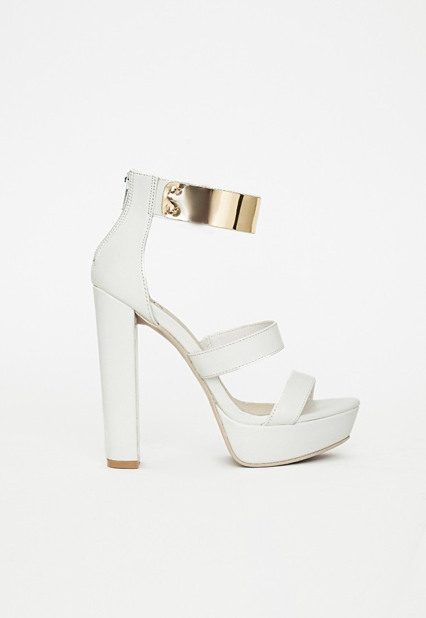 Missguided Gold Ankle Strap Platform Heeled Sandals White | Where ...