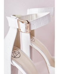 8918a01c9b Missguided Platform Heeled Sandals White Croc, $50 | Missguided ...