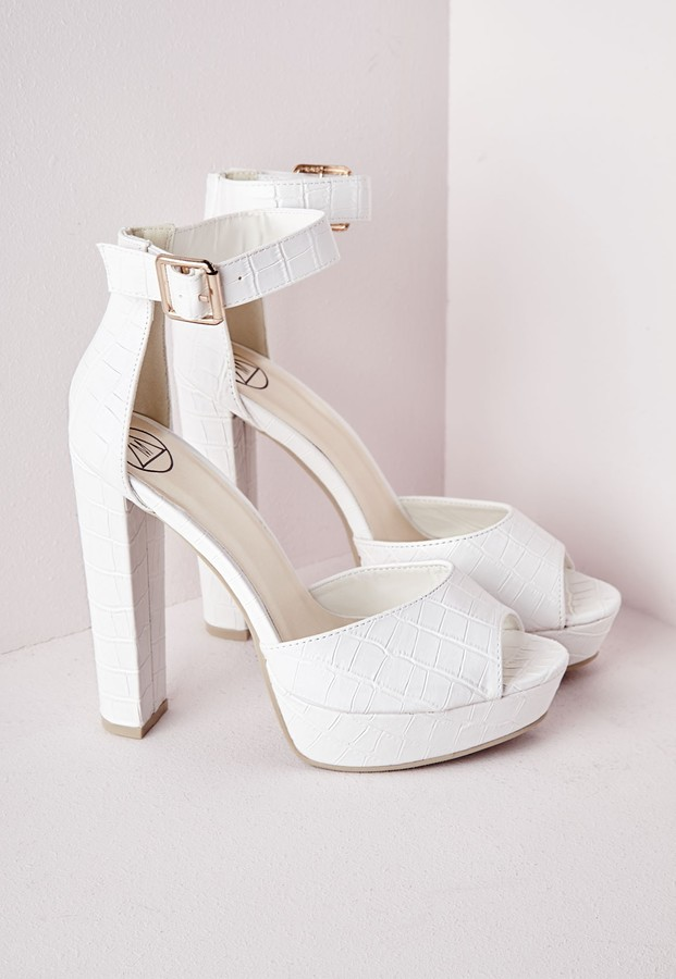 Missguided Platform Heeled Sandals White Croc | Where to buy &amp how