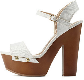Charlotte Russe Textured Chunky Wooden Platform Heels | Where to ...