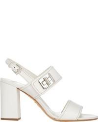 Prada Turn Lock Double Band Sandals White