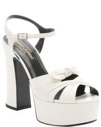 Saint Laurent White Leather Bow Strap Candy Platform Sandals