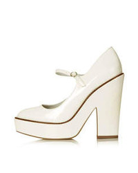 White leather look chunky platforms with rounded toe and ankle fastening heel height 5 100 polyurethane medium 81416