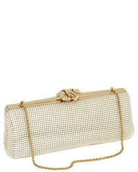 Crystal flower metal mesh clutch metallic medium 3996430