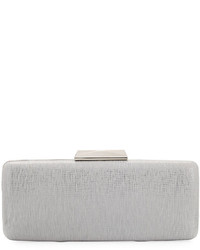 Neiman Marcus Metallic Long Box Clutch Bag White