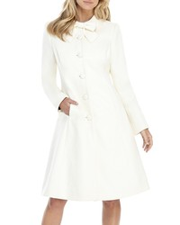 Gal Meets Glam Collection Bow Necktie Wool Blend Coat