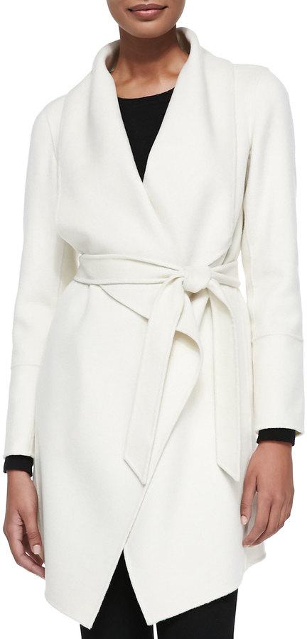 Neiman Marcus Double Woven Cashmere Draped Coat White | Where to ...