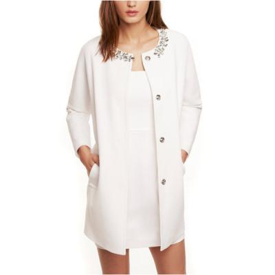Express Jeweled Collar Coat White Large | Where to buy & how to wear