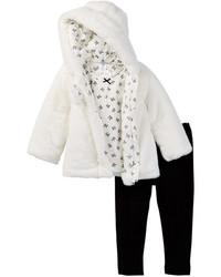 Little Me Faux Fur 3 Piece Jacket Set
