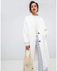 Mango Handmade Pocket Front Coat In White