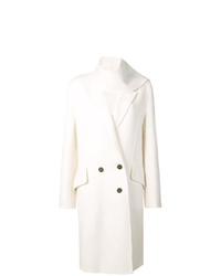 JW Anderson Ivory Double Face Wool Scarf Coat