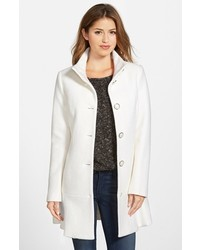 Kensie Single Breasted Ruffle Hem Coat