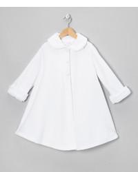 White Rose Faux Fur Swing Coat Toddler Girls