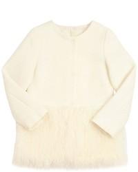 MonnaLisa Woven Wool Faux Fur Coat