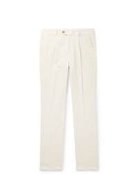 Brunello Cucinelli Tapered Pleated Cotton Corduroy Trousers