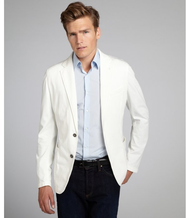 Armani White Cotton Two Button Blazer | Where to buy &amp how to wear