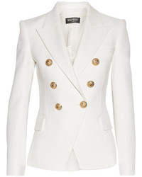 Balmain Double Breasted Basketweave Cotton Blazer White