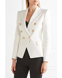 6b17f0d4 Balmain Double Breasted Basketweave Cotton Blazer White, $1,790 ...