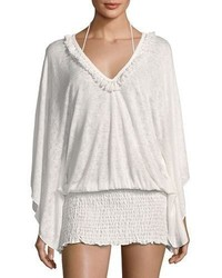 Ale By Alessandra Anja Smocked Coverup Tunic White