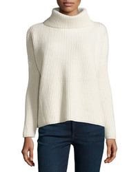 philosophy Boxy Ribbed Cowl Neck Sweater White