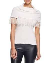 Bloomingdale's Moon Meadow Fringed Cowl Neck Sleeveless Sweater