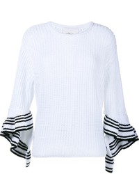 3.1 Phillip Lim Ruffle Cuff Open Stitch Sweater