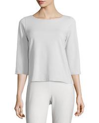 Eileen Fisher 34 Sleeve Ballet Neck Organic Cotton Top