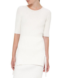 Akris Punto Ribbed Side Slit Half Sleeve Sweater Cream