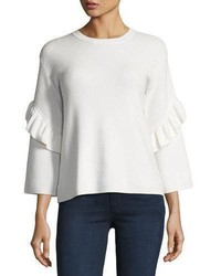 Tory Burch Ashley Ribbed Ruffle Sleeve Sweater