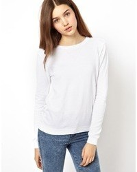 Asos Fine Knit Sweater With Crew Neck White
