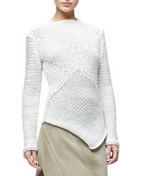Narciso Rodriguez Asymmetric Hem Cashmere Sweater White