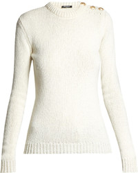 Balmain Button Shoulder Crew Neck Sweater