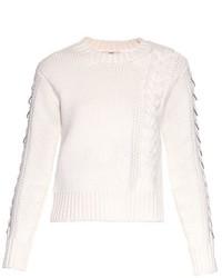 Edun Cable Knit Embellished Wool Sweater