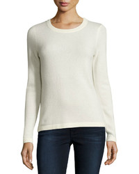 Neiman Marcus Cashmere Basic Pullover Sweater Ivory