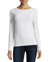 Neiman Marcus Cashmere Collection Long Sleeve Bateau Neck Cashmere Top
