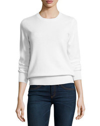 Neiman Marcus Cashmere Collection Long Sleeve Crewneck Cashmere Sweater