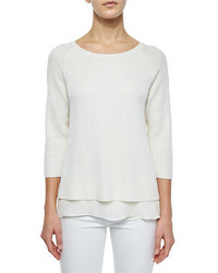 Neiman Marcus Cashmere Collection Silk Cashmere Blend With Sequins Top W Chiffon